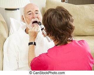 lar, saúde, enfermeira, -, diga ah