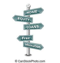 lar, signpost, empréstimo, ícone, capital próprio
