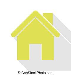 lar, silueta, illustration., pêra, ícone, com, apartamento, estilo, sombra, path.