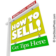 lar, sinal venda, -, como, vender, conselho, informação