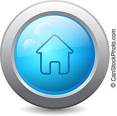 lar, teia, botão, ícone