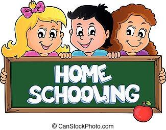 lar, tema, ensinando, 5, sinal