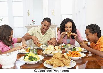 lar, tendo, junto, refeição familiar
