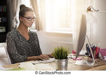 lar trabalha, mulher, escritório, dela