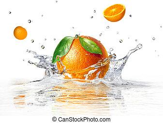 laranja, água, claro, respingue