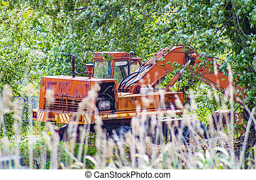 laranja, árvores., equipment., escavador