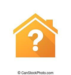 laranja, ícone casa, pergunta, sinal