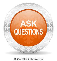laranja, ícone, perguntas, natal, perguntar, botão