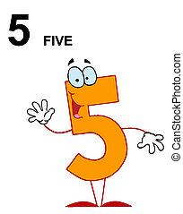 laranja, 5, amigável, número