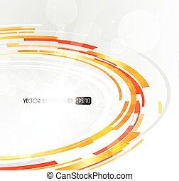 laranja, abstratos, circle., futurista, 3d