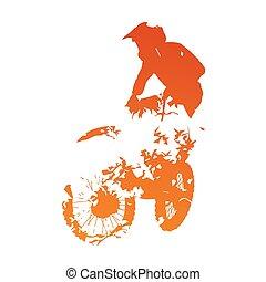 laranja, abstratos, motocross, cavaleiro