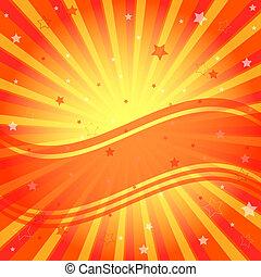 laranja, abstratos, raios, vívido, fundo