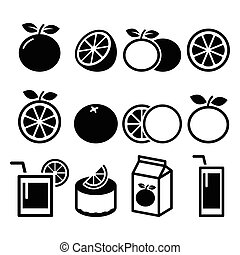 laranja, alimento, jogo, -, ícones