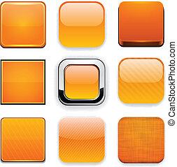 laranja, app, quadrado, icons.