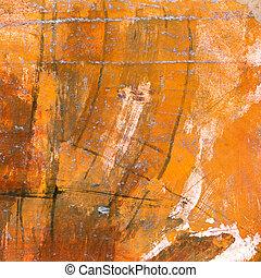 laranja, aquarela, pintado, lona