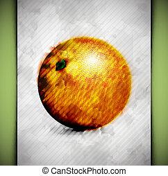 laranja, aquarela