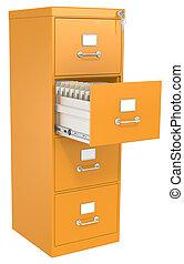 laranja, arquivo, cabinet.