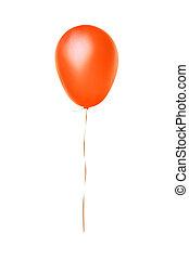 laranja, balloon, voando, isolado, branca