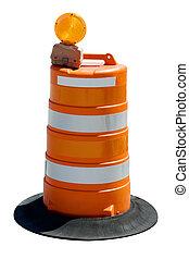 laranja, barril, estrada