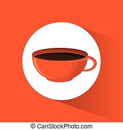 laranja, bebida café, quentes, copo