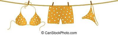 laranja, biquíni, shorts boxer
