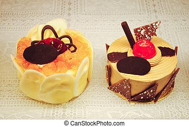 laranja, bolo, e, bolo chocolate
