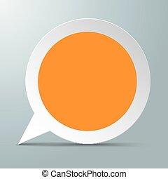 laranja, borbulho fala, redondo, centro