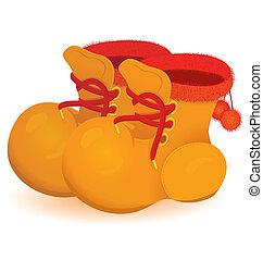 laranja, botina, vetorial, par