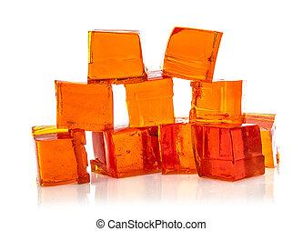 laranja, branca, cubos, geléia, fundo