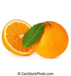 laranja, branca, fruta, isolado, fundo
