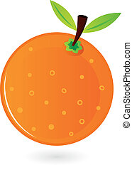 laranja, branca, fruta, isolado