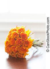 laranja, buquet, casório