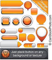 laranja, buttons., high-detailed, modernos