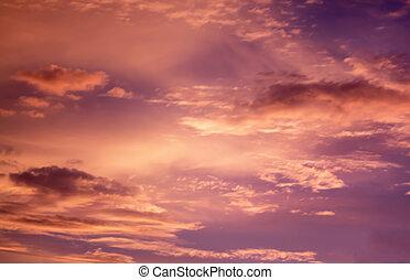 laranja, céu ocaso, fundo