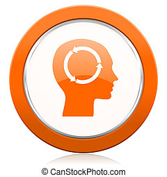 laranja, cabeça, ícone,  human, sinal