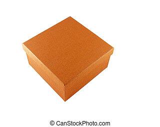 laranja, caixa, fundo branco