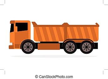 laranja, caminhão, entulho