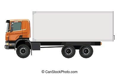laranja, caminhão, lado
