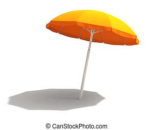 laranja, caminho, cortando, guarda-sol
