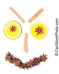 laranja, canela, anis, e, cravinhos