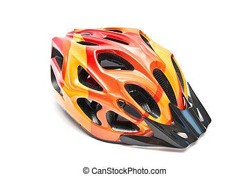 laranja, capacete bicicleta