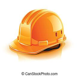 laranja, capacete, construtor, trabalhador