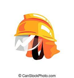 laranja, capacete segurança, para, bombeiro, vetorial,...
