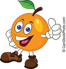 laranja, caricatura, personagem