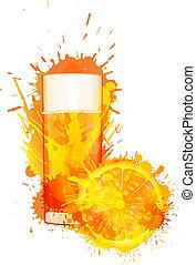 laranja colorida, suco, esguichos, fundo, fatia, feito, vidro, branca
