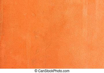 laranja, concreto, parede, fundo