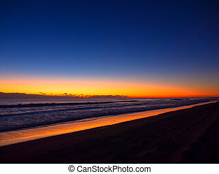 laranja cor, praia, amanhecer, longo