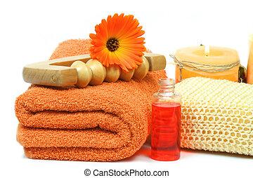 laranja cor, spa, acessórios, luxo