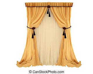 laranja, cortina