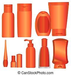 laranja, cosméticos, pacotes